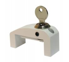 Блокирующий замок окна WIN GUARD с поворотным флажком и ключом белый