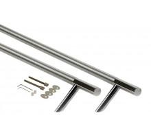 Ручка для алюминиевых дверей со смещением, комплект с креплением, L=1000, межосевое расстояние=800, D=32, 12172.8874N, полированная
