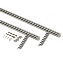 Ручка для алюминиевых дверей со смещением, комплект с креплением, L=800, межосевое расстояние=600, D=32