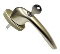 Ручка оконная с ключом и замком Maco RHAPSODY (Рапсодия), 35 мм, шампань
