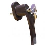 Ручка оконная с замком и ключом для пластиковых окон, цвет коричневый, 35 мм