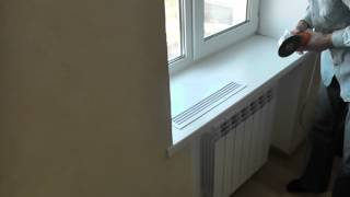 Монтаж решетки в подоконник